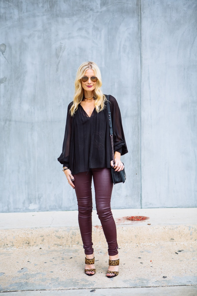 Burgundy leather pants 1