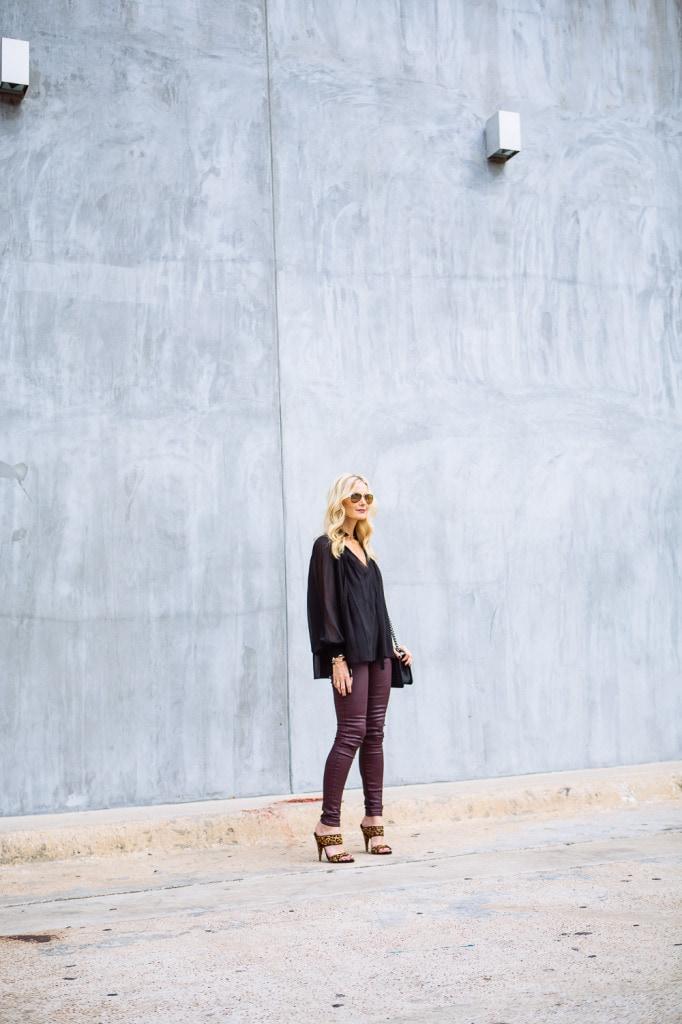 Burgundy leather pants 2