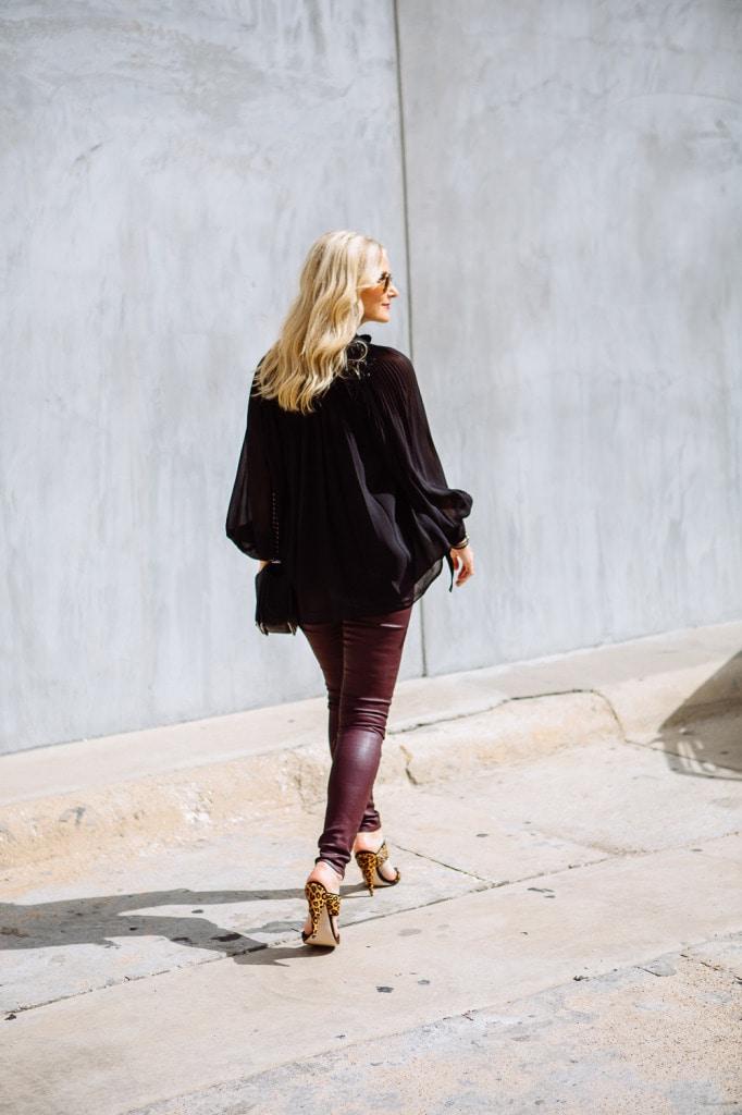 Burgundy leather pants 4