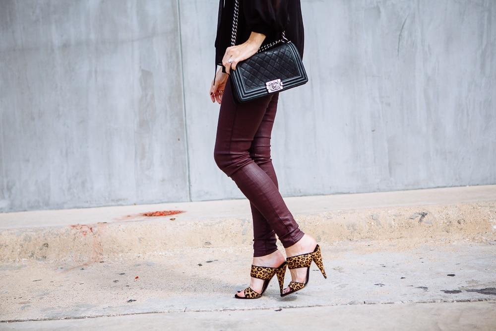 Burgundy leather pants 7
