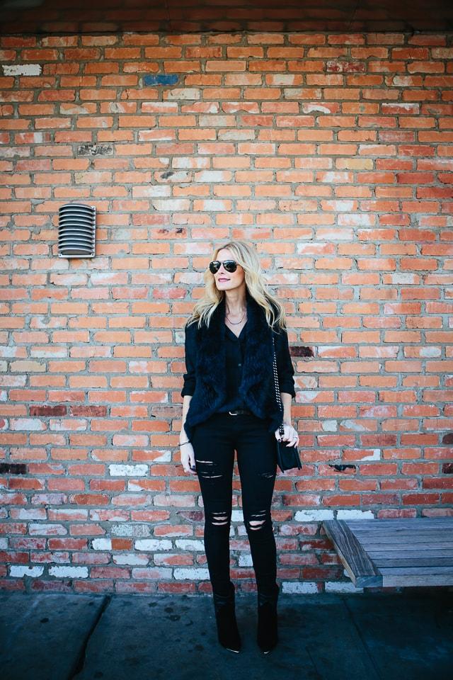 Frame denim black ripped jeans 5