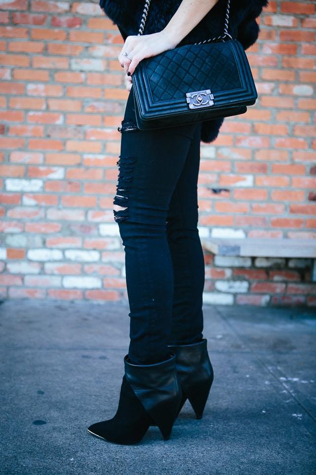 Frame denim black ripped jeans 6