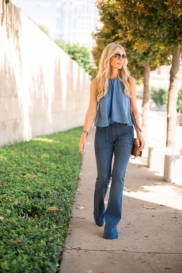 zara denim top 1