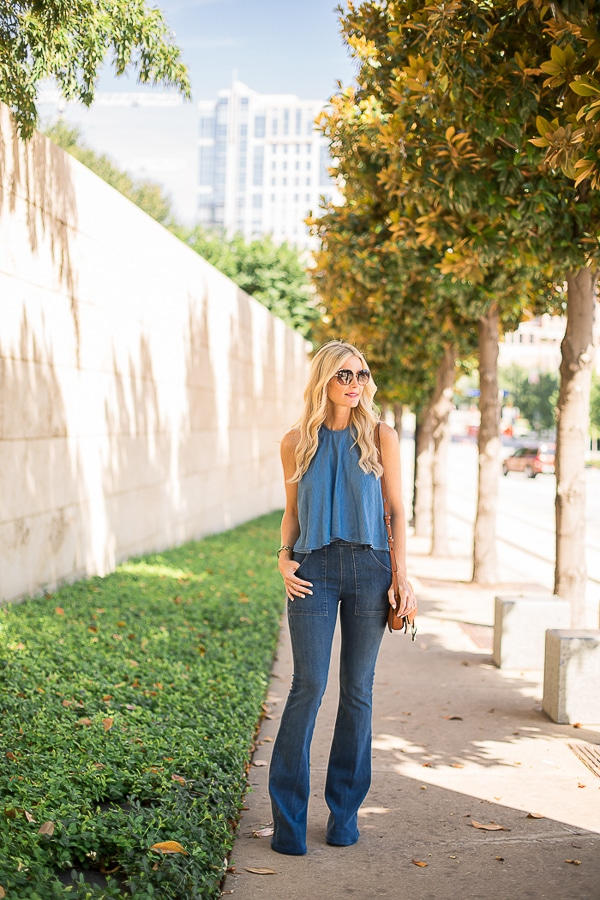 zara denim top 2