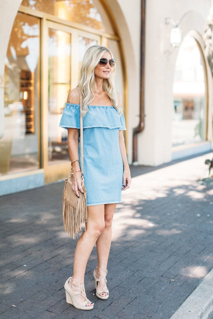 zara shoulderless denim dress 2