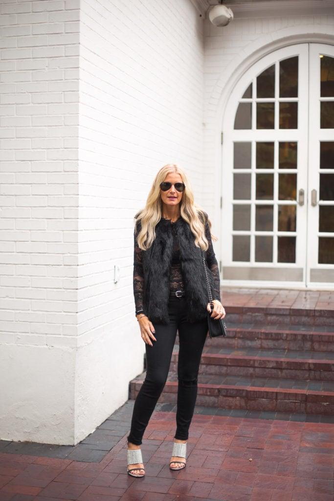 topshop black faux fur vest 5