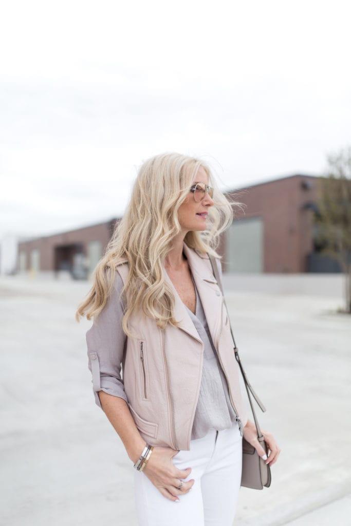 Blush pink leather vest 5
