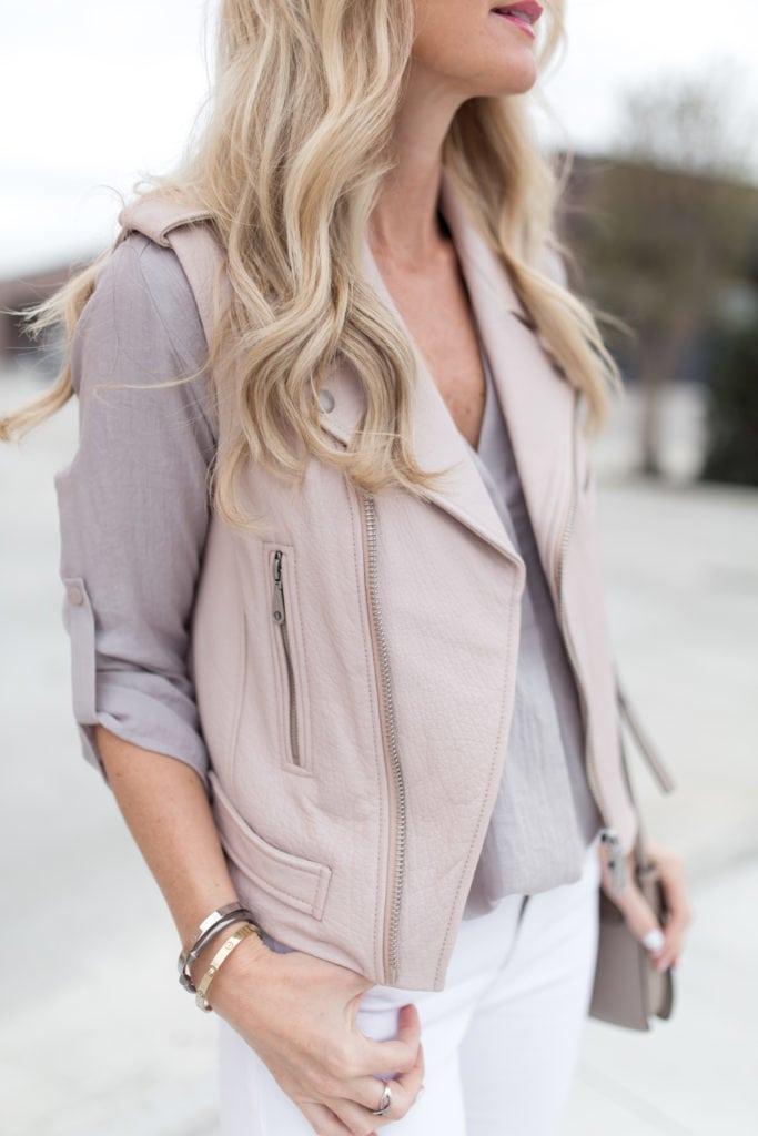 Blush pink leather vest 7