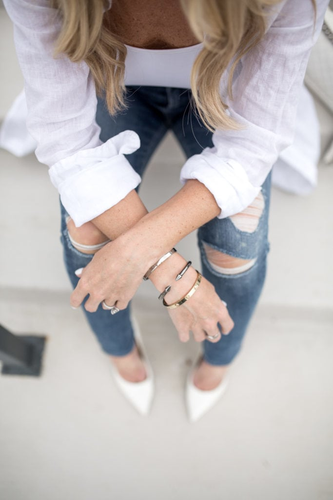 A Gold E ripped jeans