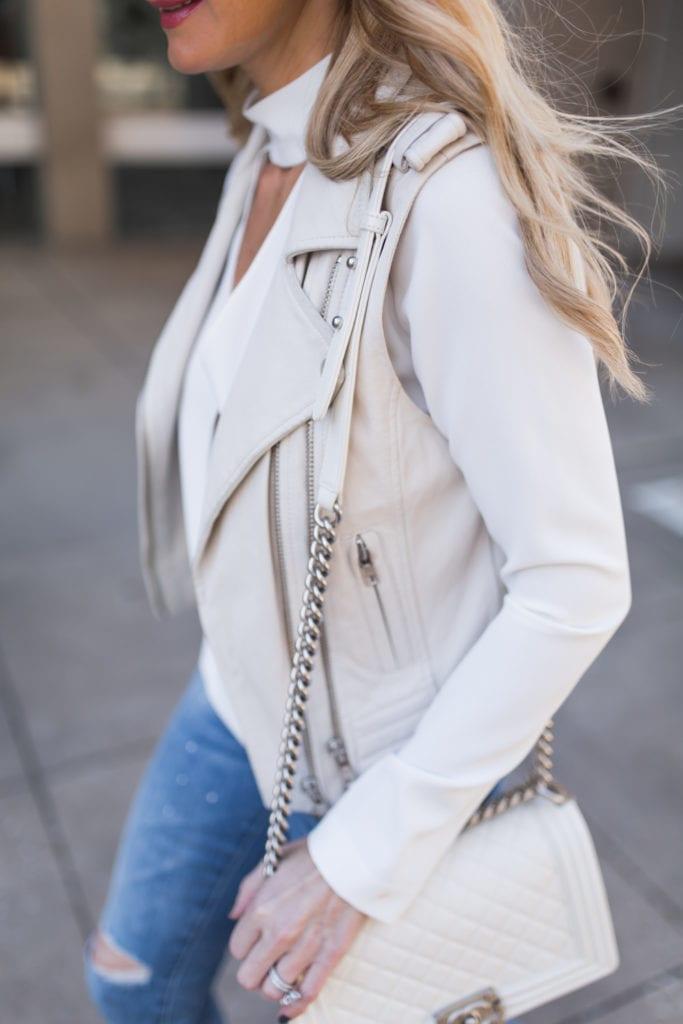 Iro ivory leather moto vest