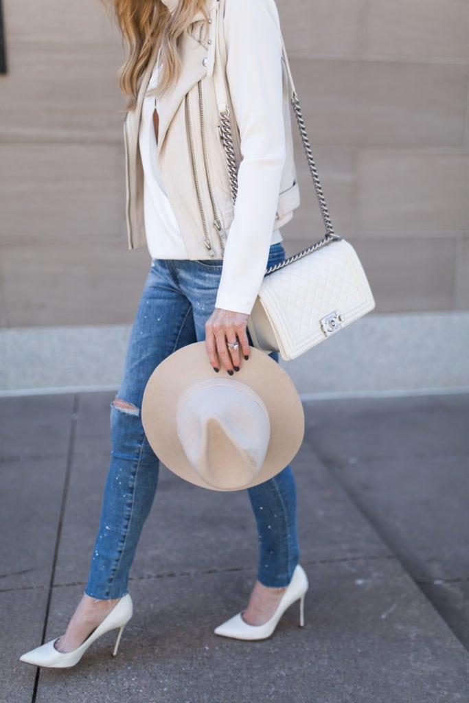 Chanel white boy bag