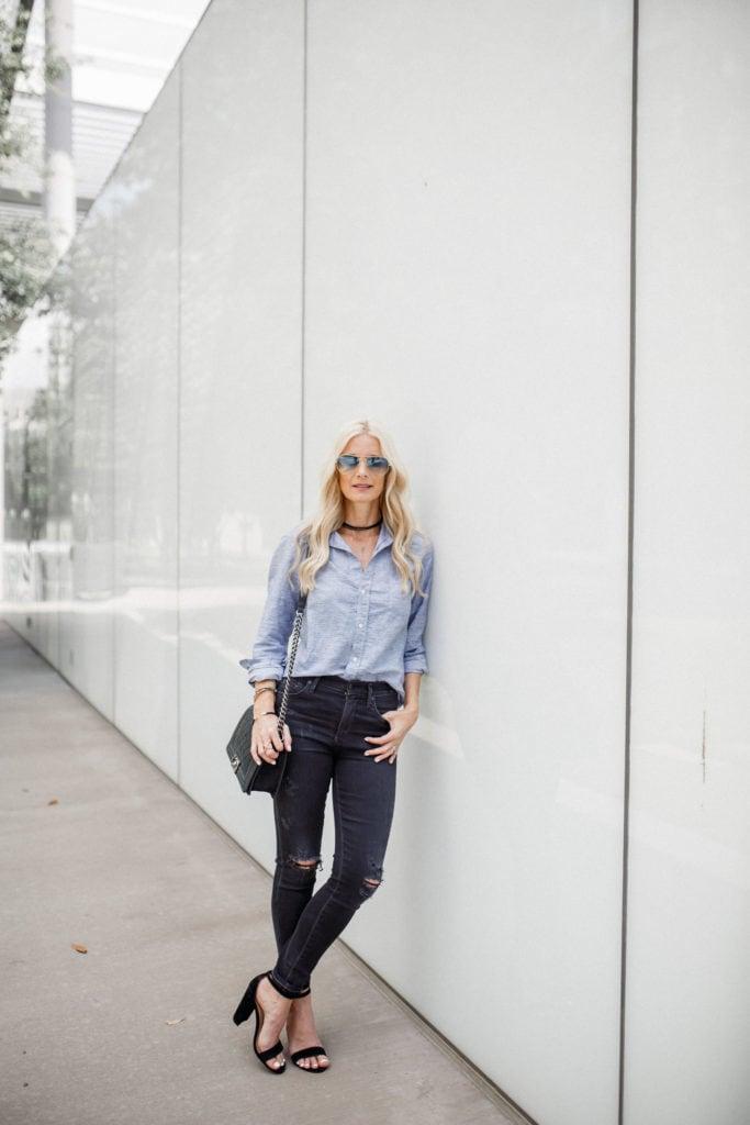 Black ripped jeans, striped shirt, dallas fashion blogger