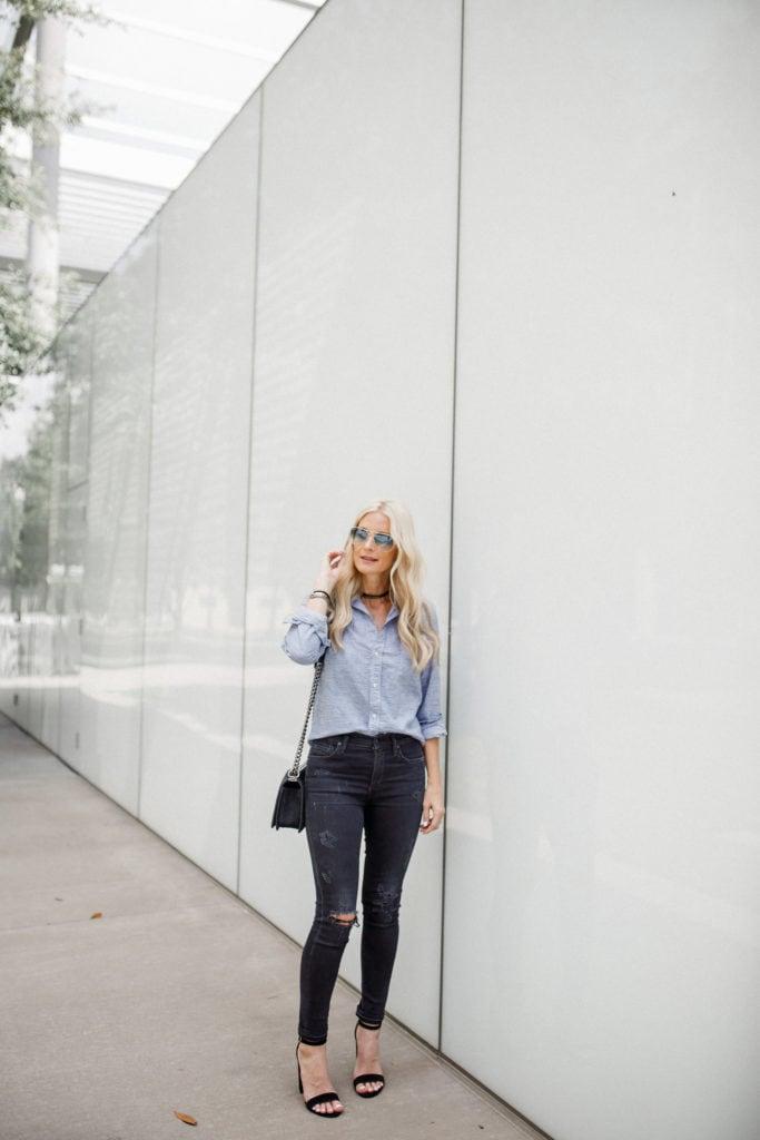 Frank & Eileen Button Down, Dallas Fashion Blogger, black ripped jeans, blue ray bans