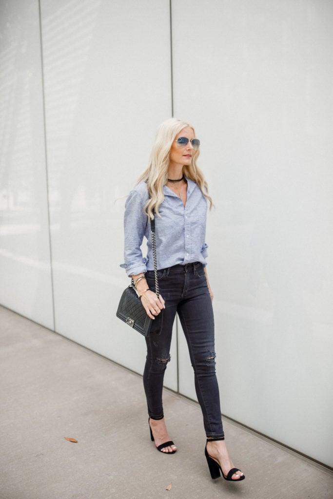Frank & Eileen Button Down, Chanel Boybag, Dallas Fashion Blogger, Striped Button down