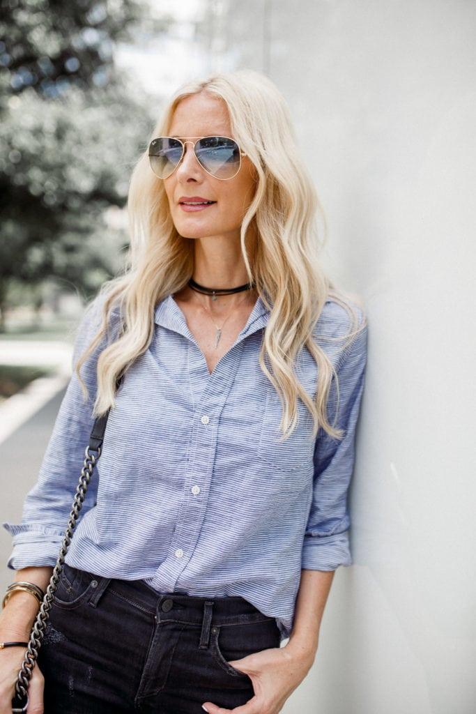 Black Choker, Dallas Style Blogger, Blue Raybans