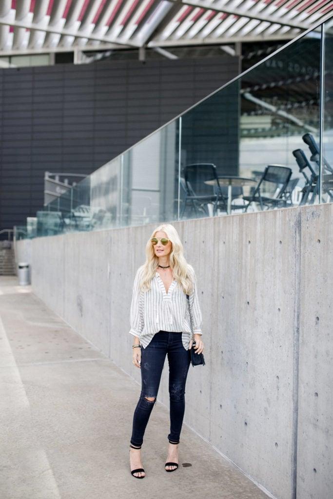 Heather Anderson, Dallas Fashion blogger, Black suede heels