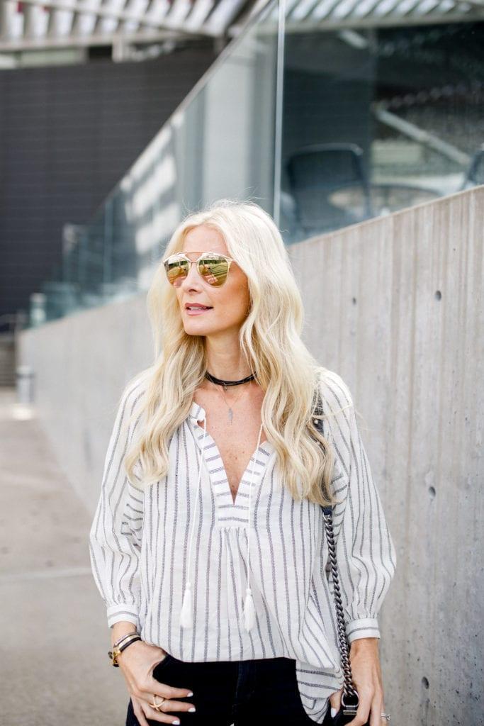 Heather Anderson, black choker, dior sunglasses