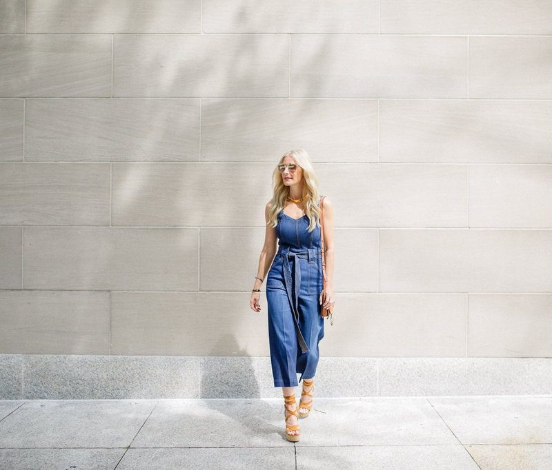 Denim Jumpsuit, Dallas Fashion Blogger, Denim Culottes, Denim Romper