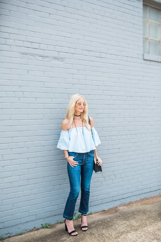 Off the Shoulder Top, Dallas Fashion Blogger, Cropped Flares