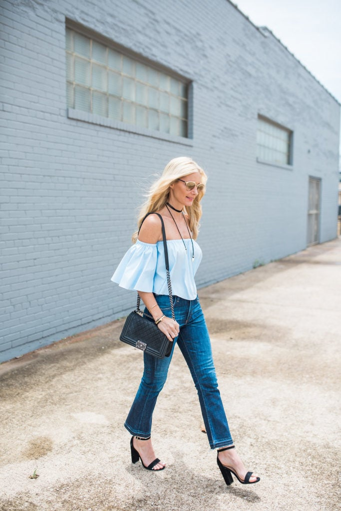 Blue Off the Shoulder Top, Dallas Fashion Blogger, Chanel Boybag