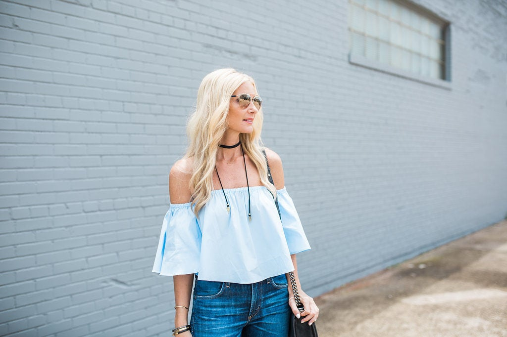 Heather Anderson, Dallas Style Blogger, Trendy Fashion Blogger, Off the Shoulder Top