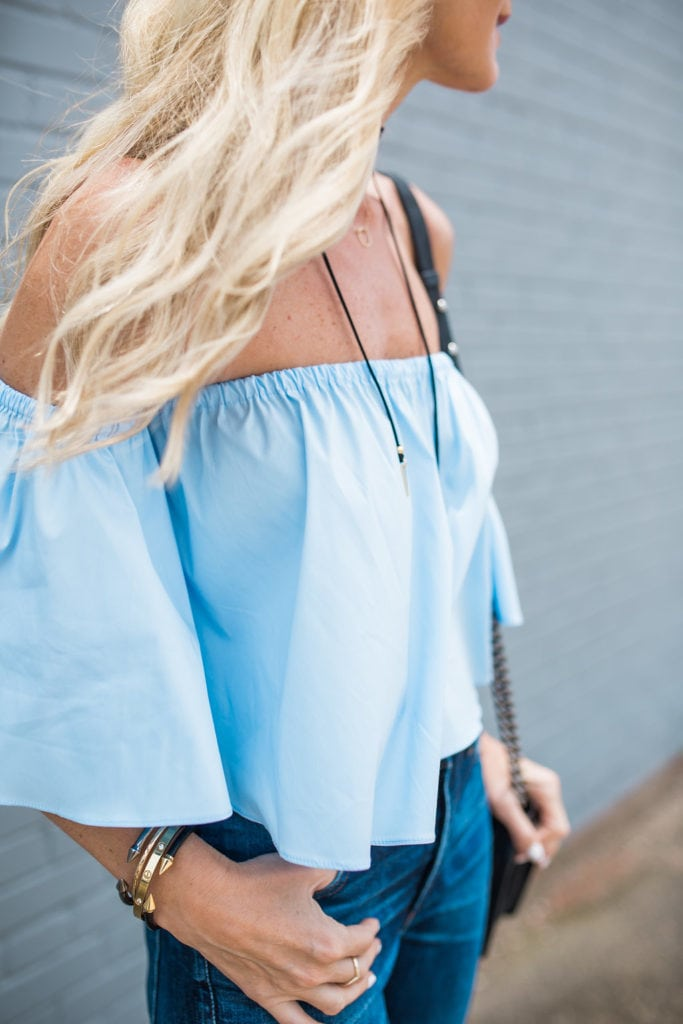 Blue Off the Shoulder Top, Dallas Style Blogger, Trendy Fashion Blogger