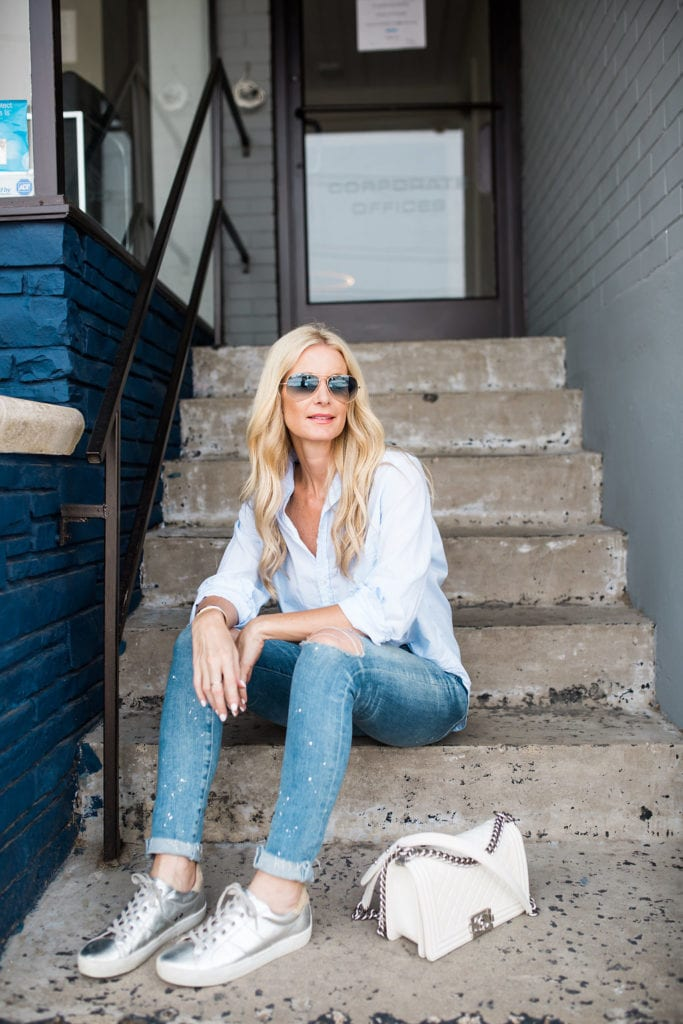 Joie Silver Sneakers, Heather Anderson, Dallas Fashion Blogger