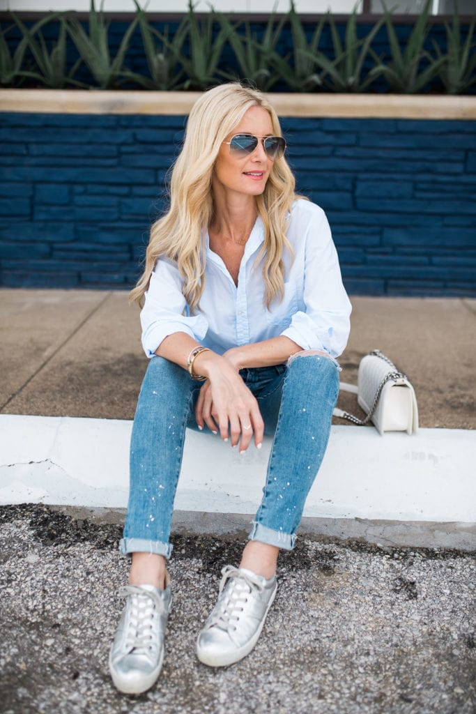 Joie Silver Sneakers, Heather Anderson, Dallas Fashion Blogger, AG ripped jeans