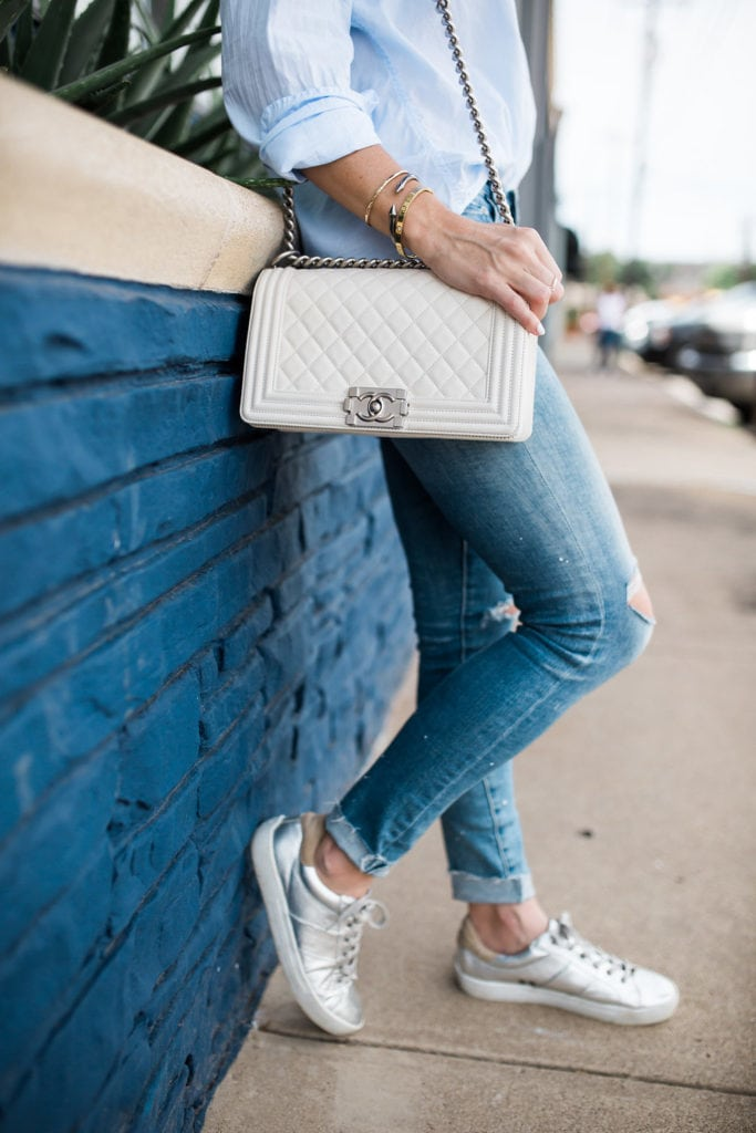 Joie Sneakers, Dallas Style Blogger, White Chanel Boybag
