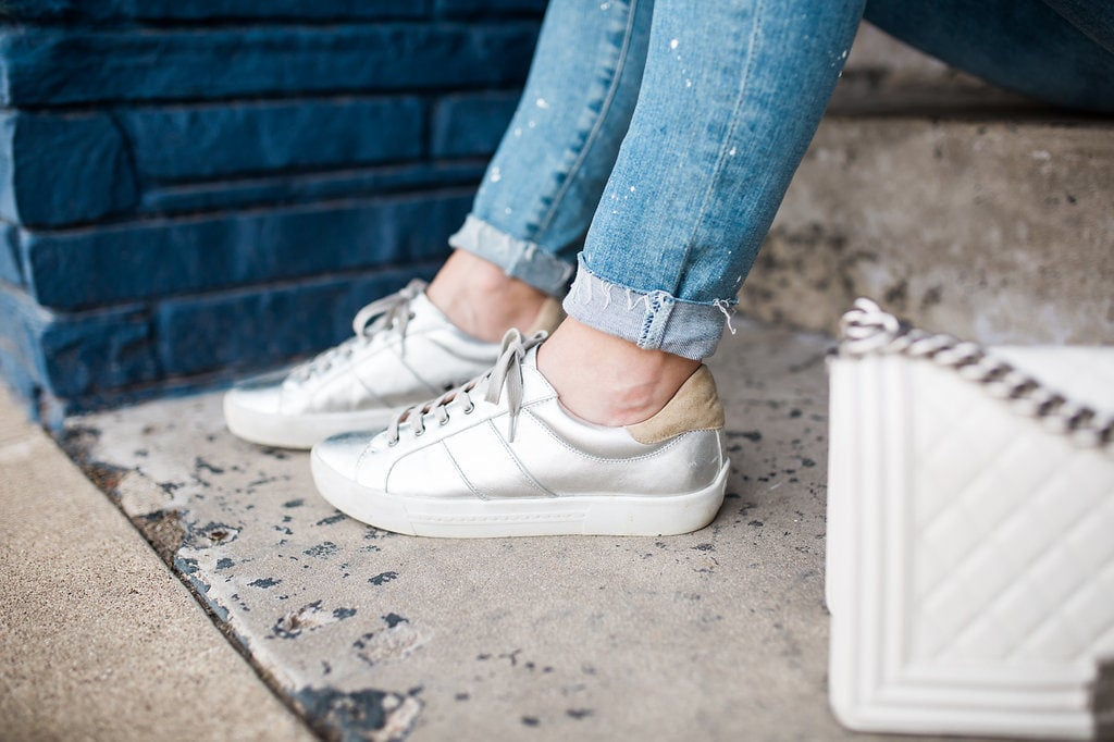 Joie Silver Sneakers, AG ripped jeans, Dallas Style Blogger