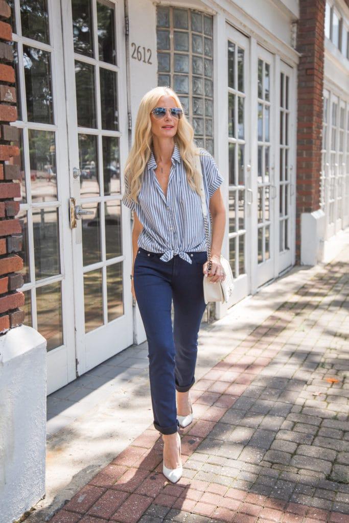 Striped Button Down, Dallas Fashion Blogger, Dark Skinny Jeans