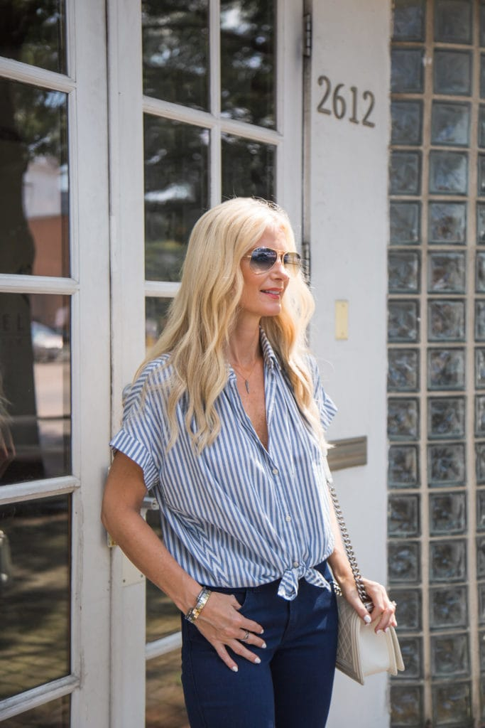 Striped Button Down, Dallas Style Blogger, Rolled Skinny Jeans