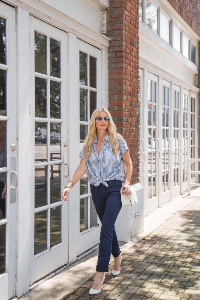 Madewell Striped Button Down, Heather Anderson, Dallas Fashion Blogger