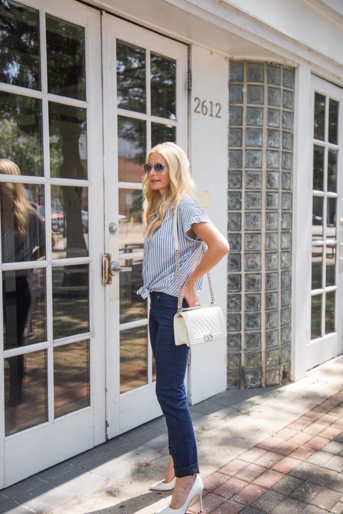 Striped Button Down, Chanel Boybag, Dallas Style Blogger