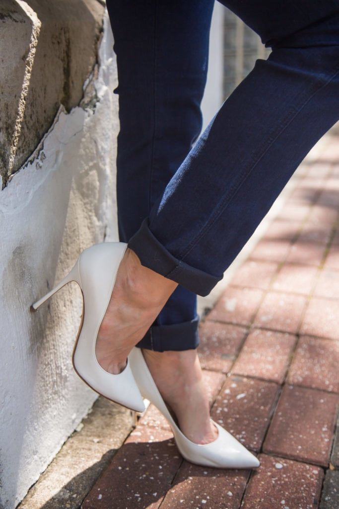 Rolled Skinny Jeans, White pumps, Dallas Style Blogger