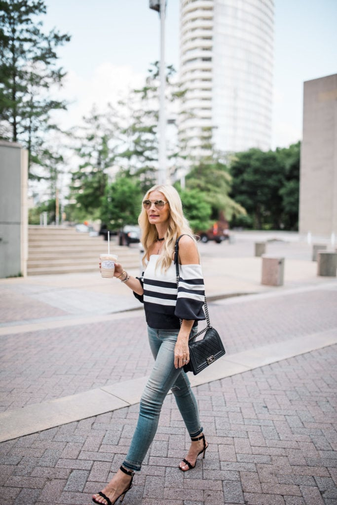 Black and White off the shoulder top, Heather Anderson, Dallas Fashion Blogger