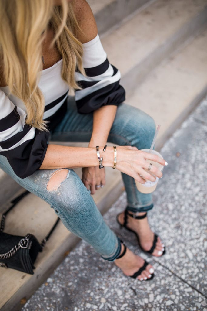 off the shoulder top, Dallas Style Blogger, Citizens of Humanity Ripped Jeans
