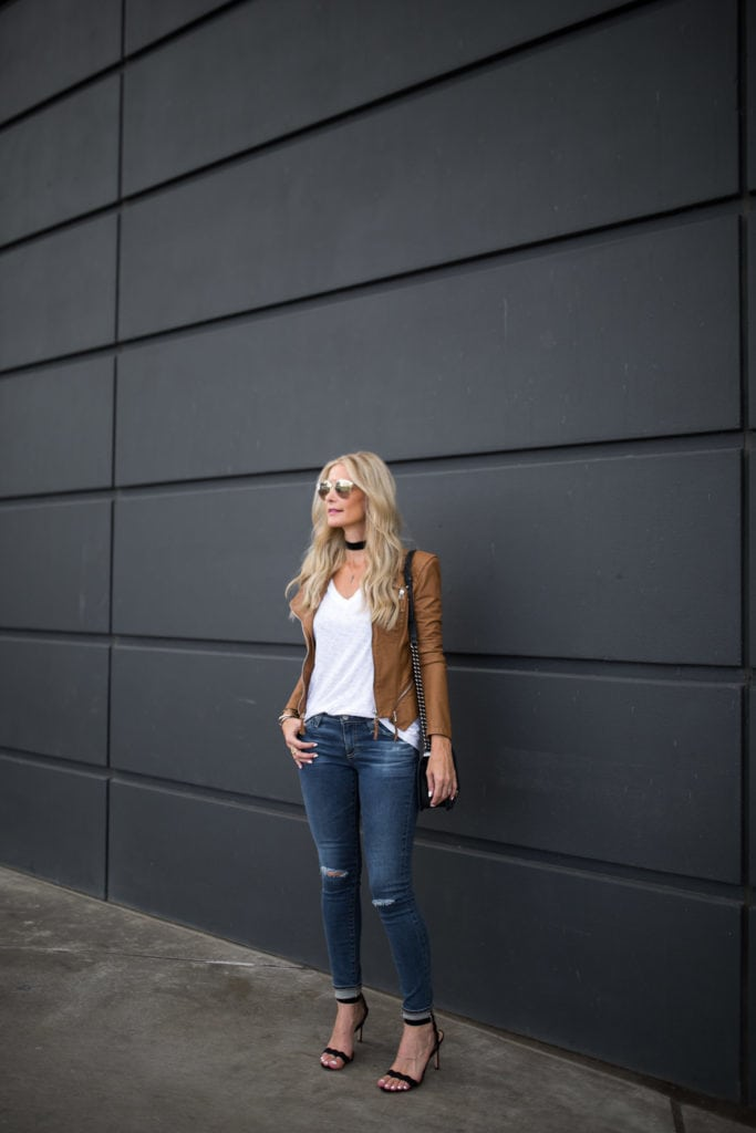 AG ripped jeans, Camel Moto Jacket, Heather Anderson