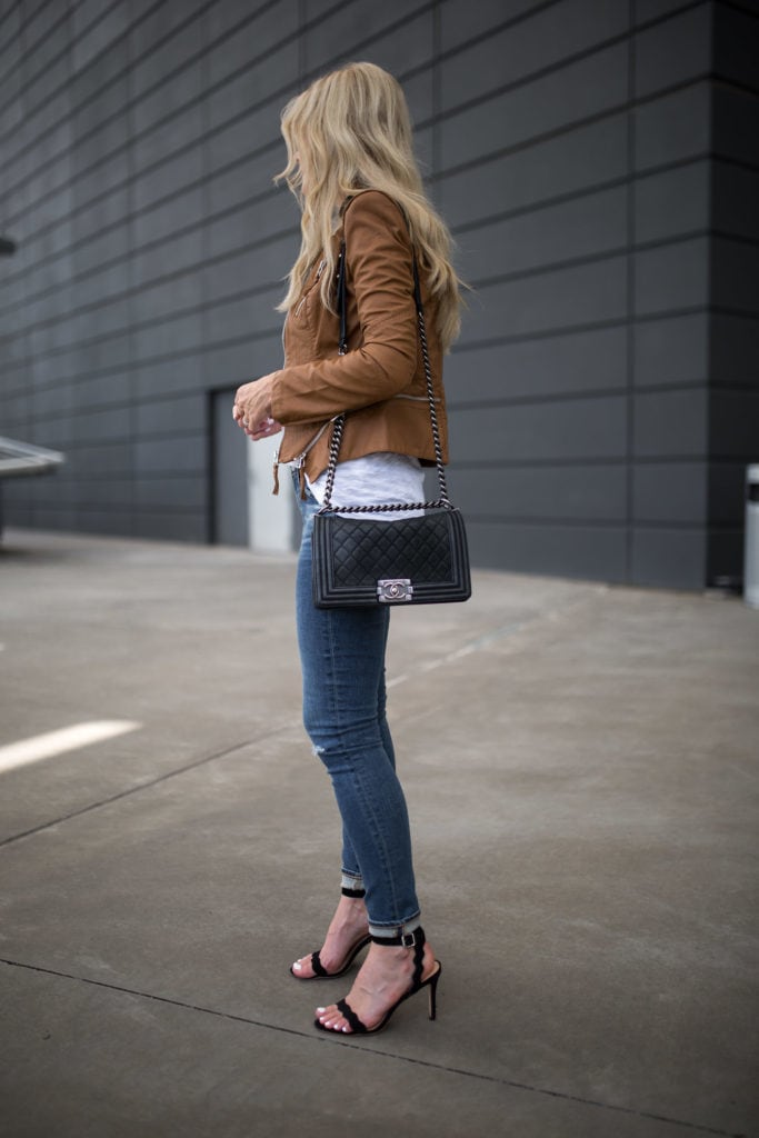Chanel Boybag, Camel Leather Jacket, AG Jeans