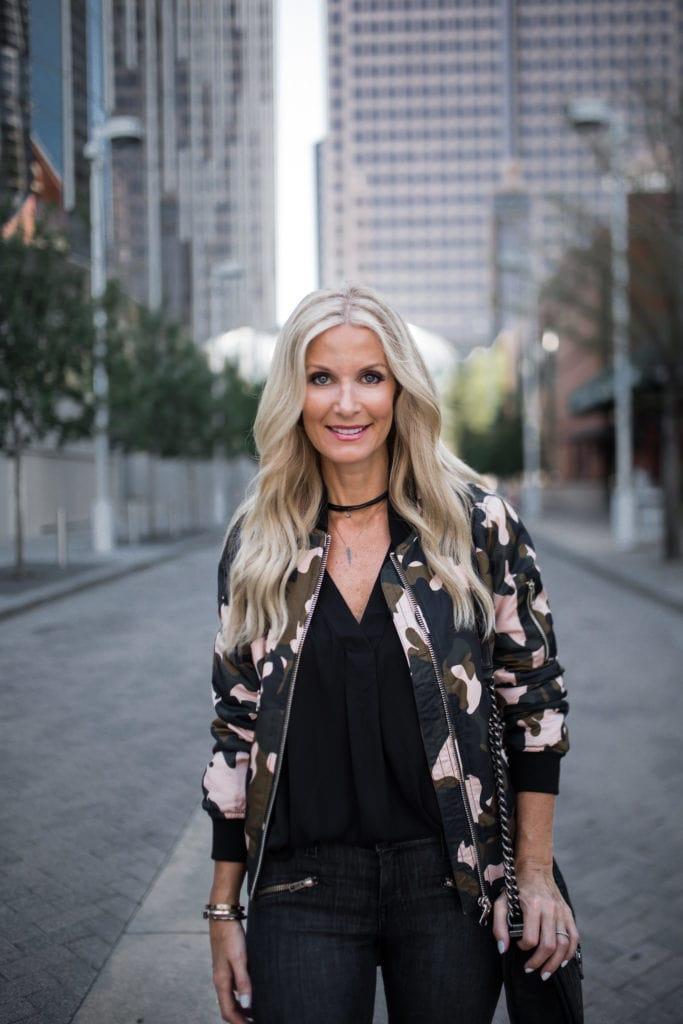 Camo Bomber Jacket, Dallas Style Blogger, Nordstrom Sale
