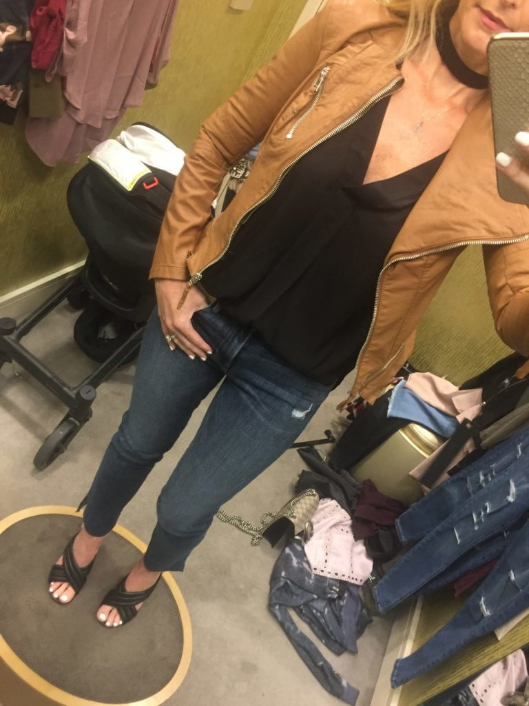 Camel Moto Jacket, Heather Anderson, Dallas Style Blogger, Northpark Mall