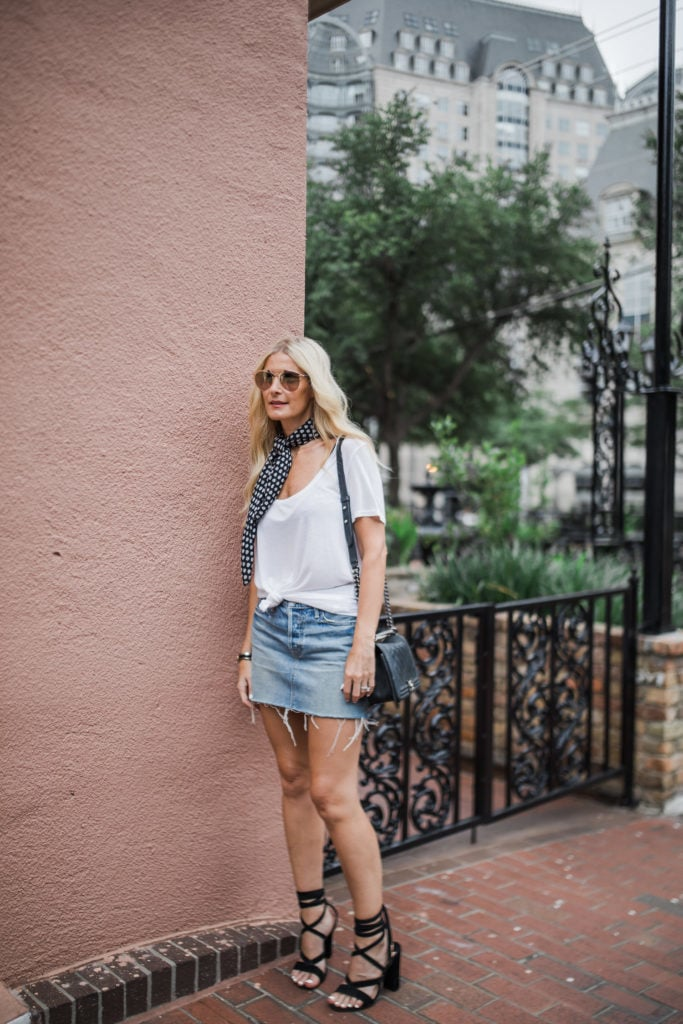 Denim skirt, White tee shirt, Dallas Fashion Blogger