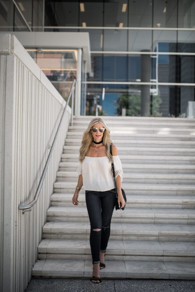 Off the Shoudler Top, Dallas Fashion Blogger, Current Elliott Jeans