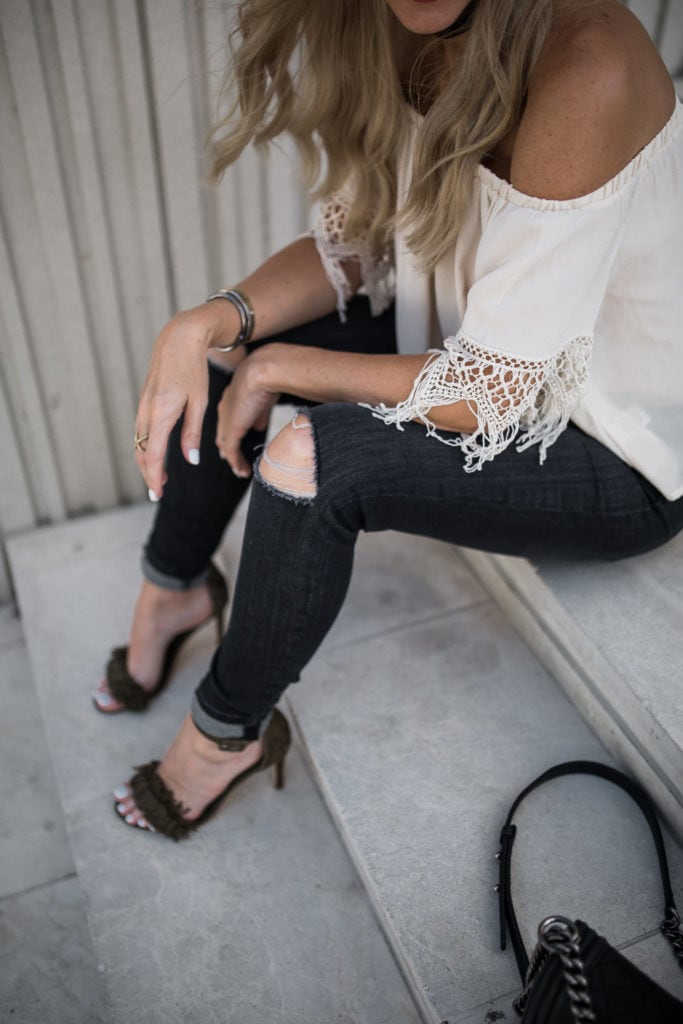 Off the Shoudler Top, Black Ripped Jeans, Joie Fringe Heels