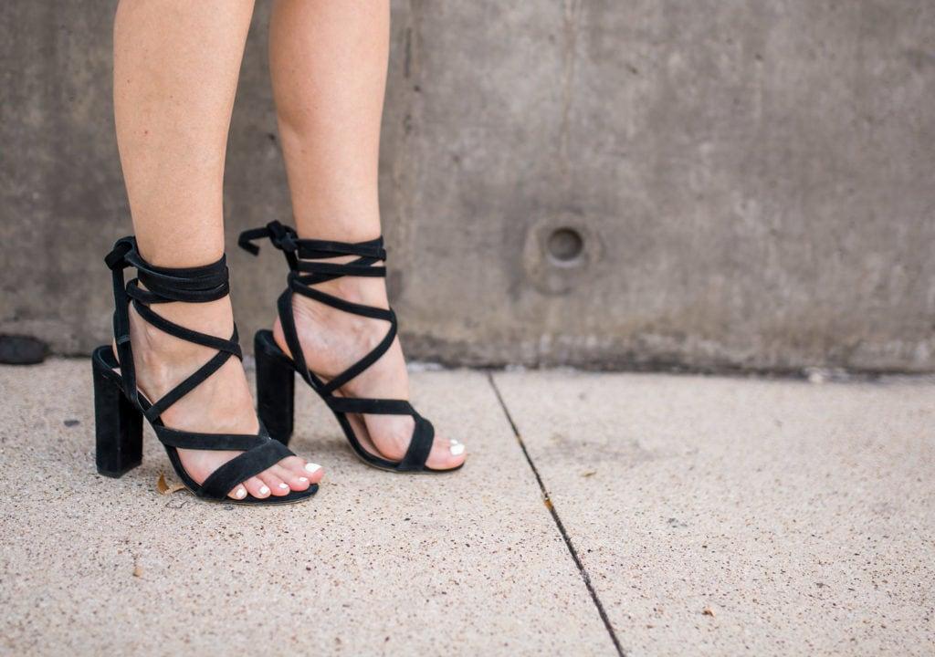 Ivana Trump Heels, Black Suede Heels, Lace up heels