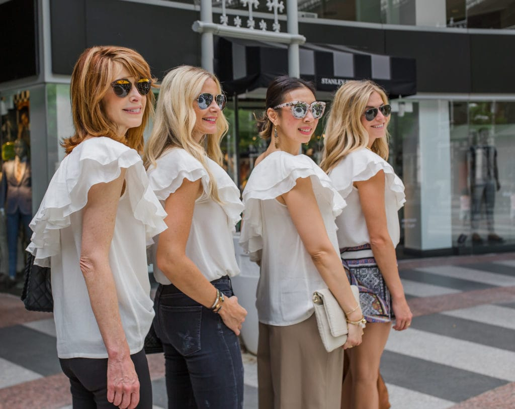 White Ruffle Top, Chic at Every Age, Heather Anderson