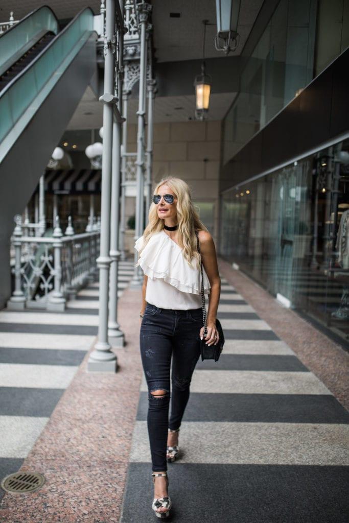 One Shoulder Top, Black choker, Dallas Fashion Blogger