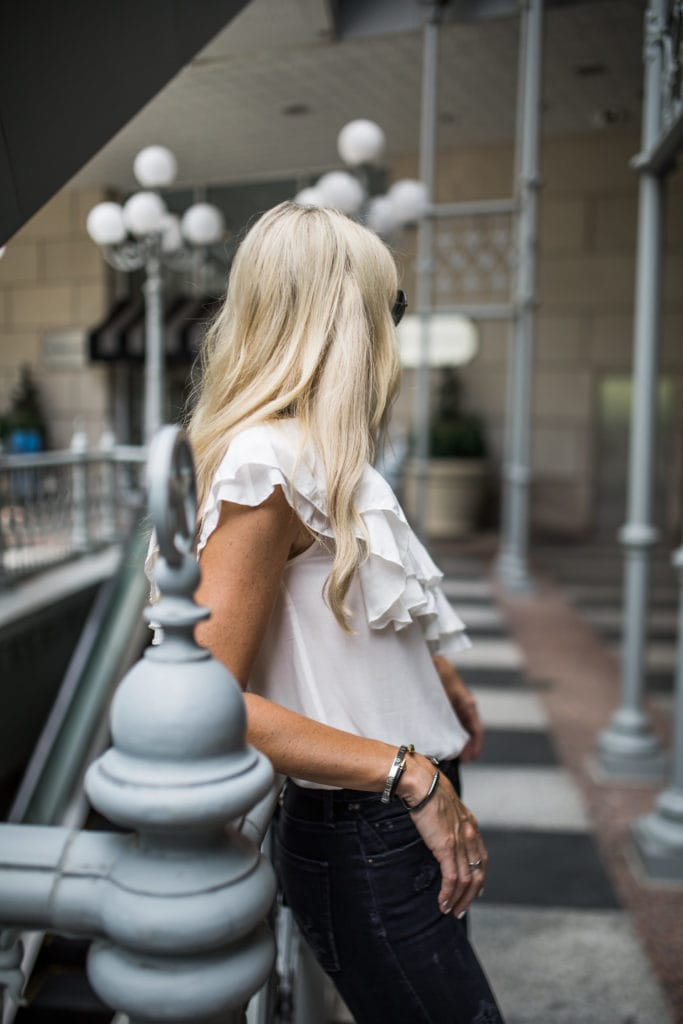 One Shoulder Top, Dallas Style Blogger, High Waisted Denim