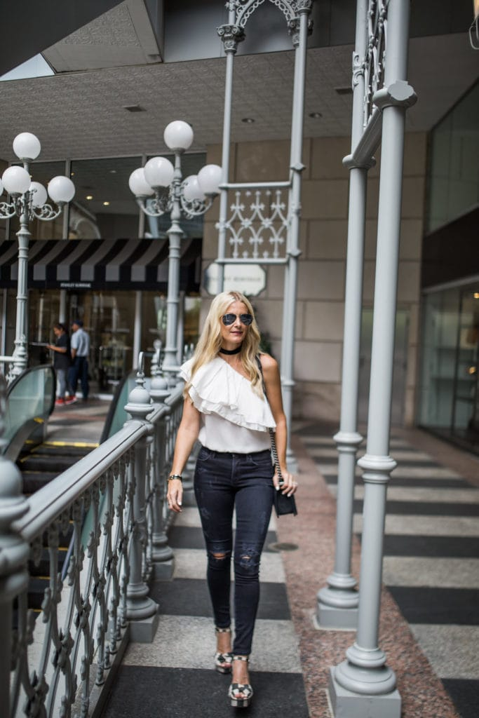 One Shoulder Top, Dallas Fashion Blogger, Citizens of Humanity jeans