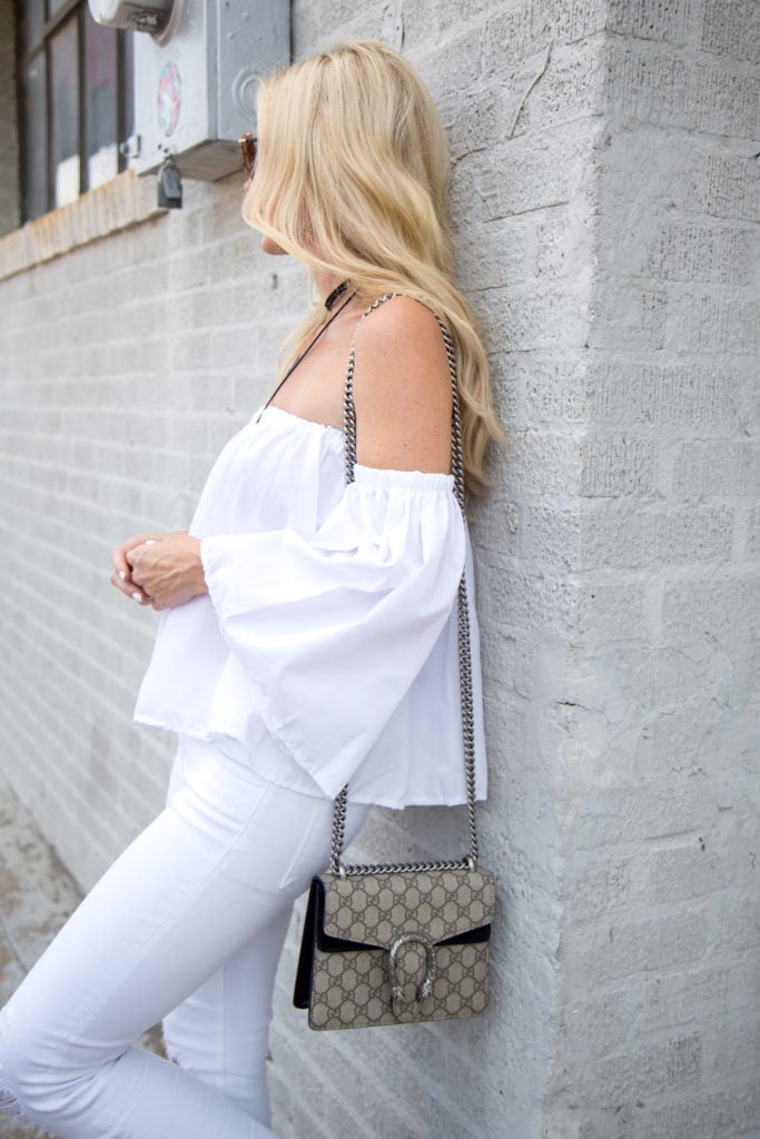 Gucci Handbag, Dallas Style Blogger, Off the Shoulder top